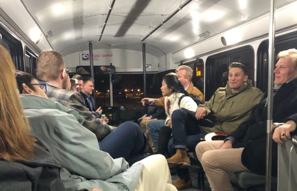 Our Clients on a bus to the Keystone Ranch Restaurant
