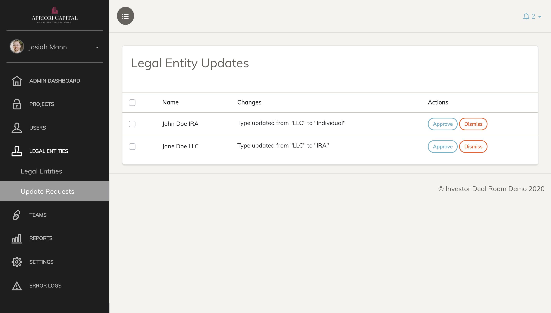 Screenshot of legal entity management screen