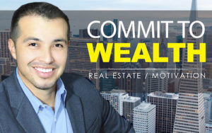 Commit To Wealth Logo with Juan Vargas's face set against skyscrapers.