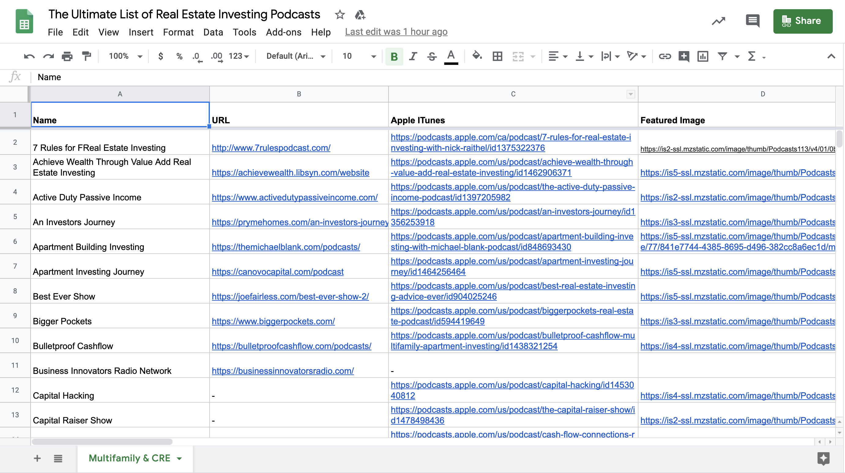 The Ultimate List of Real Estate Investing Podcasts Spreadsheet