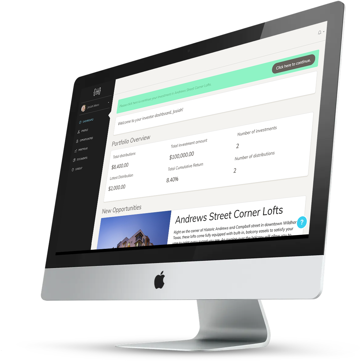 Picture of our real estate investor portal software